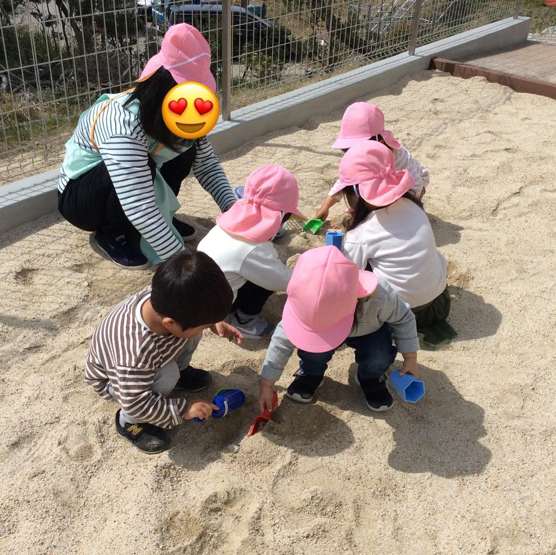 初めてお庭の砂場に出て遊びました♪#舞多聞そらの保育園#神戸市#垂水区#舞多聞#小規模保育園#舞多聞100年の杜